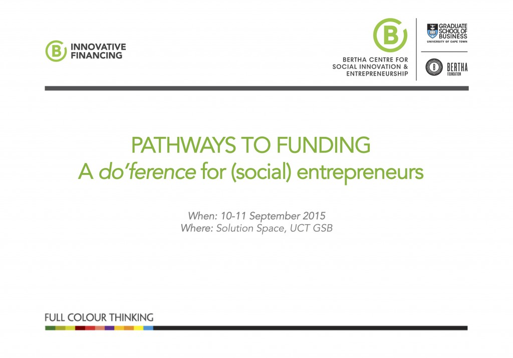 "Partner with us on our Pathways to Funding ""Do-ference"" for"