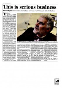 Profile on Walter and his vision for the GSB - published in the times on September 11 2009